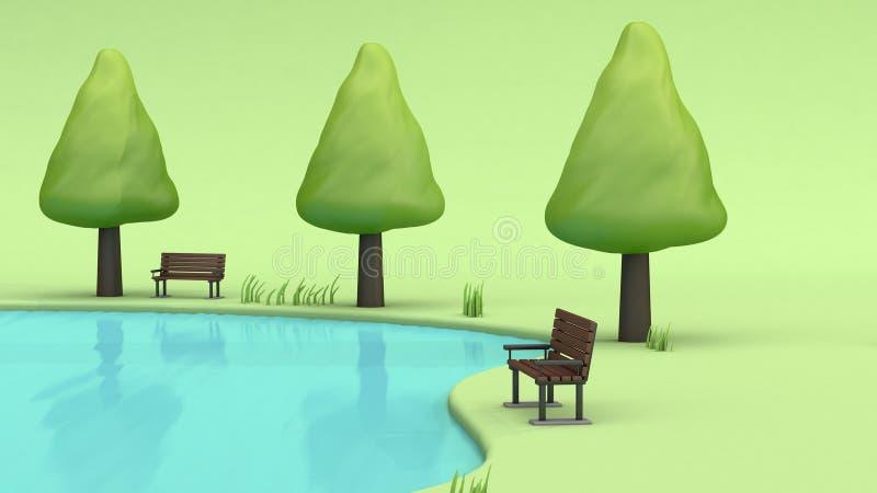 gräsplan parkerar dammvattenreflexionen 3d framför royaltyfri illustrationer