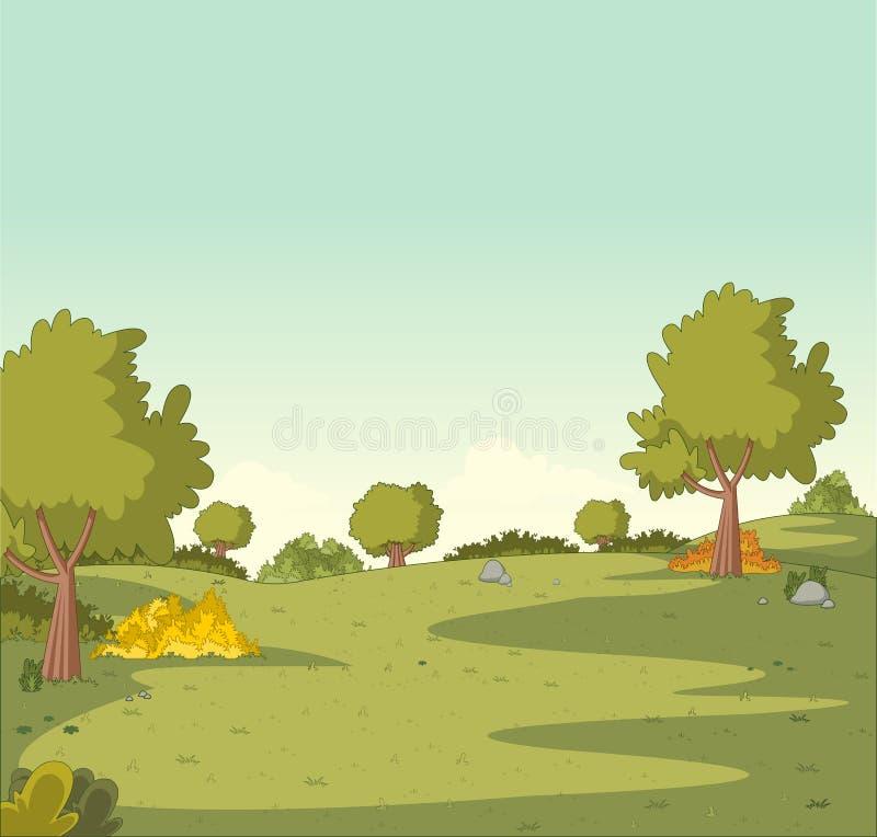 Gräsplan parkerar med gräs och träd stock illustrationer