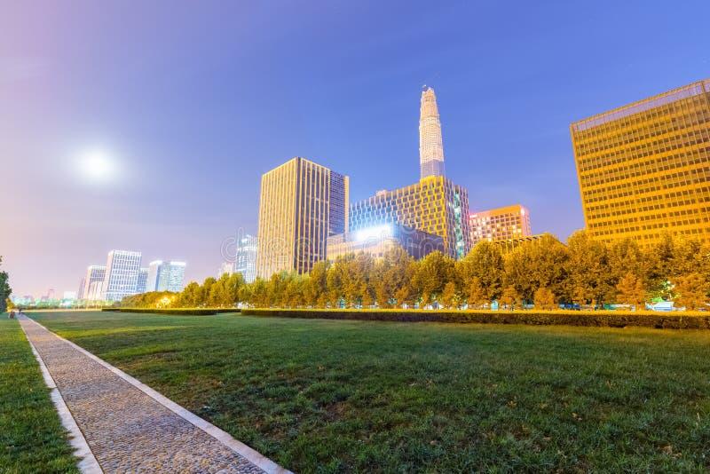Gräsplan parkerar med staden på natten fotografering för bildbyråer