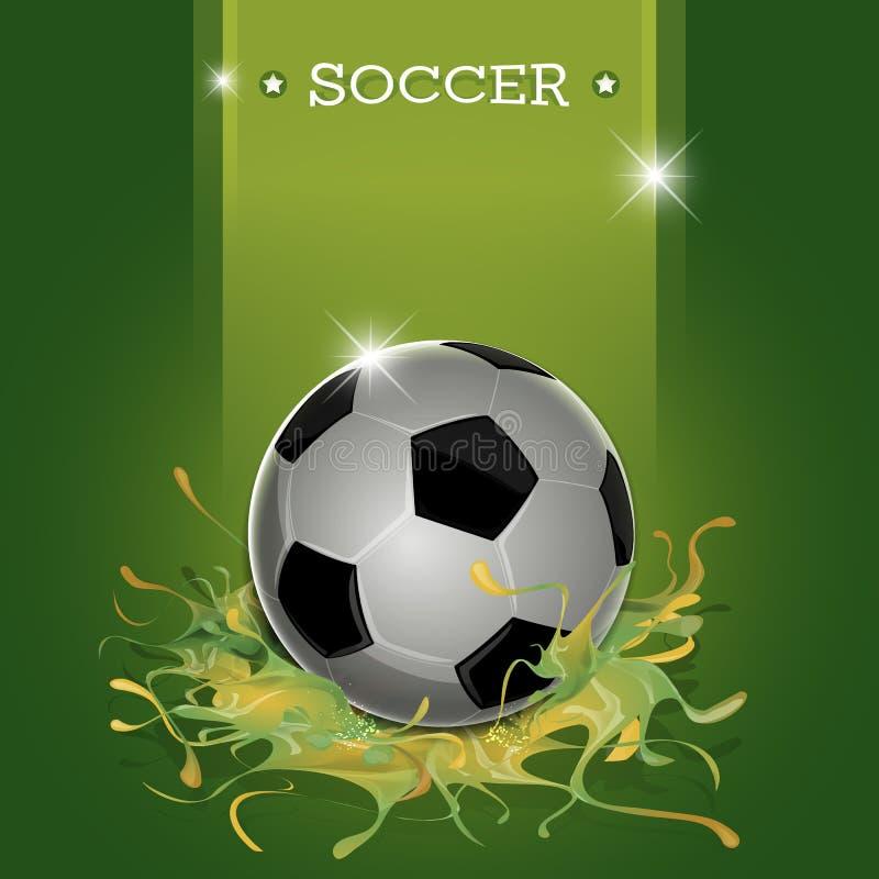 Gräsplan plaskar fotbollbollen stock illustrationer