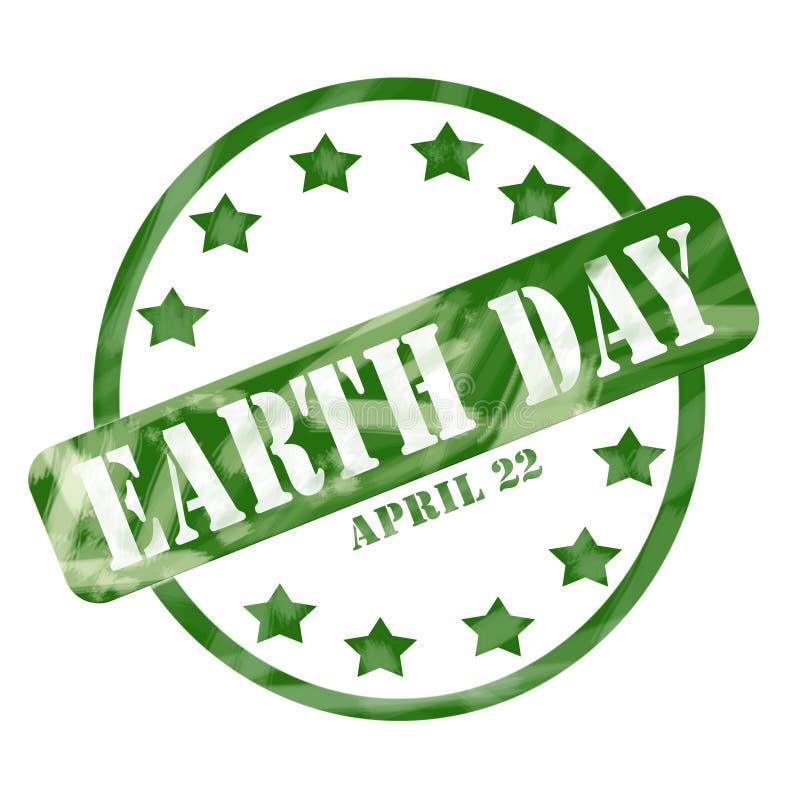 Gräsplan red ut för April 22 för jorddag cirkel och stjärnor stämpel stock illustrationer