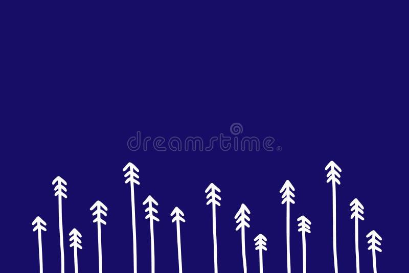 Gräsplan sörjer träd på illustrationen för vektorn för den röda stilsortshanden den utdragna för julvykort och tryck vektor illustrationer