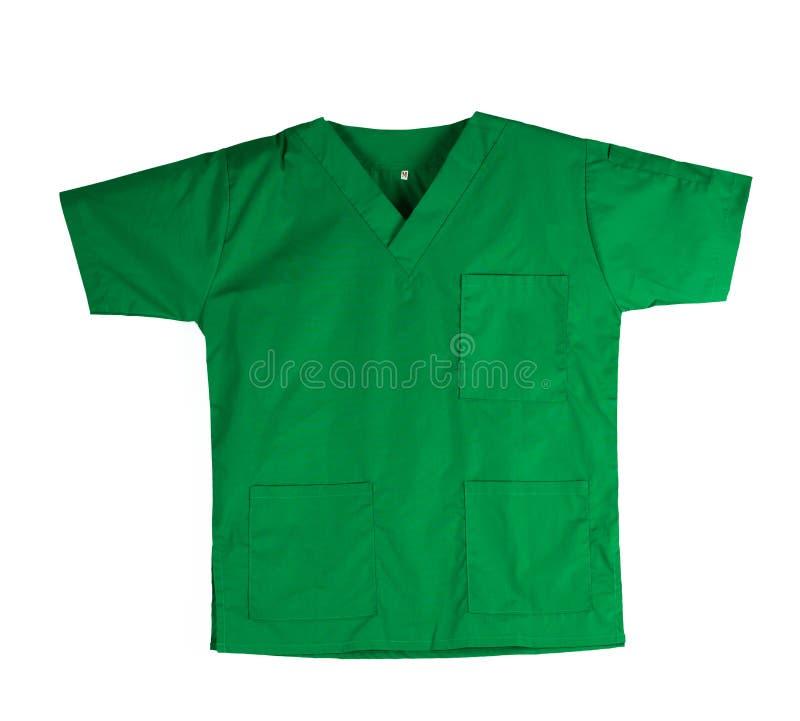 Gräsplan skurar likformign isolerad på vit bakgrund med kopieringsutrymme Grön skjorta och för veterinär, doktor eller sjuksköter royaltyfria bilder
