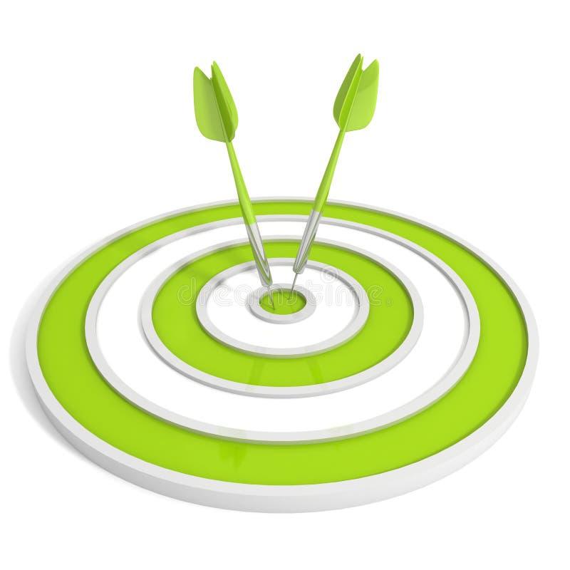 Gräsplan uppsätta som mål, och två kasta sig pilar på vitbakgrund vektor illustrationer