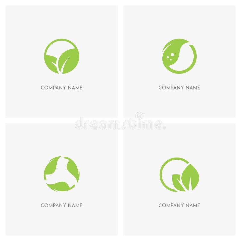 Gräsplansidor och ekologilogo royaltyfri illustrationer
