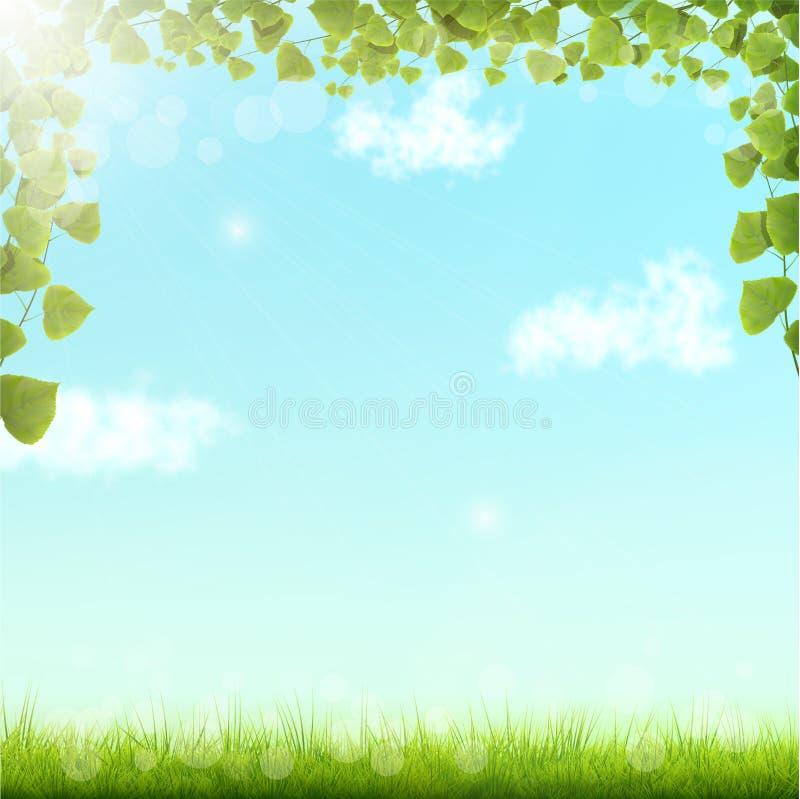 Gräsplansidor på blå himmel Bacground stock illustrationer