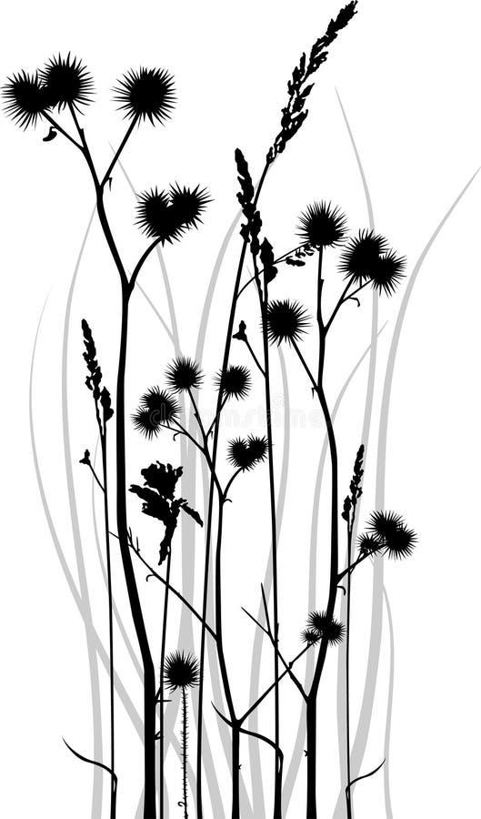 grässilhouette royaltyfri illustrationer