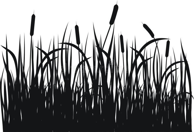 grässilhouettevektor stock illustrationer