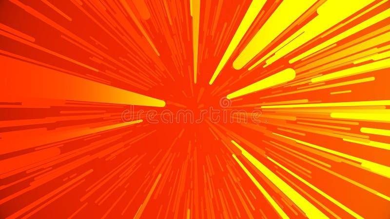Gräva bana Abstrakt mångfärgad hyperspace tunnel på svart bakgrund Projektion av ultrarapid av fotoner royaltyfri illustrationer