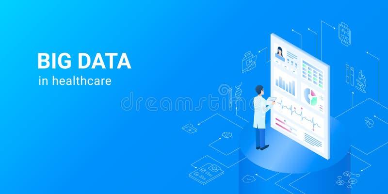 Gräva data i sjukvård - elektroniska vård- datamängder stock illustrationer