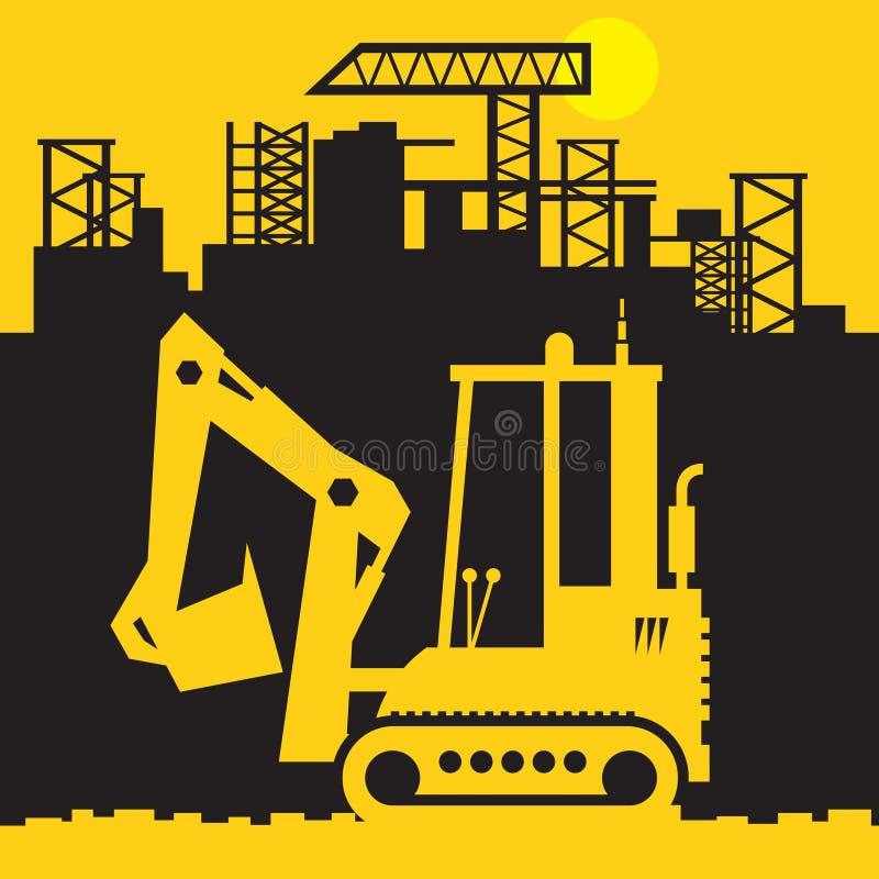 Grävare konstruktionsmaktmaskineri vektor illustrationer