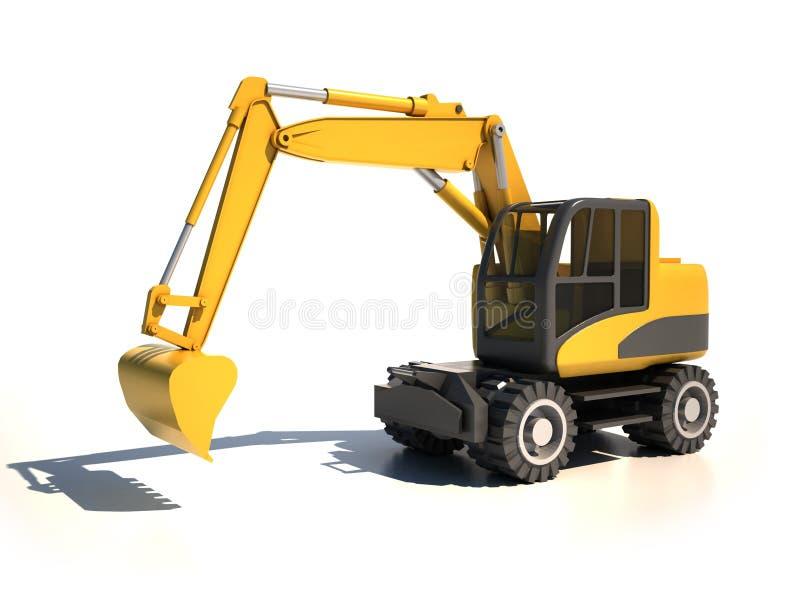 grävskopa 3d stock illustrationer