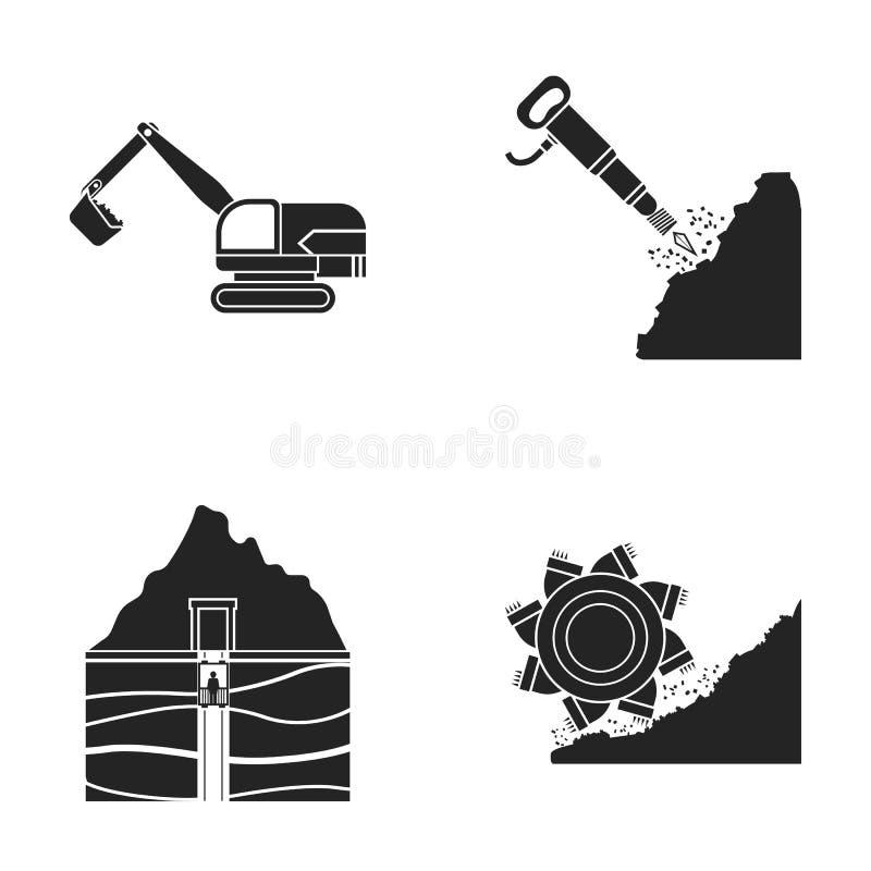 Grävskopa, tunnel, hiss, kolskördearbetare och annan utrustning Min uppsättningsamlingssymboler i svart stilvektorsymbol vektor illustrationer