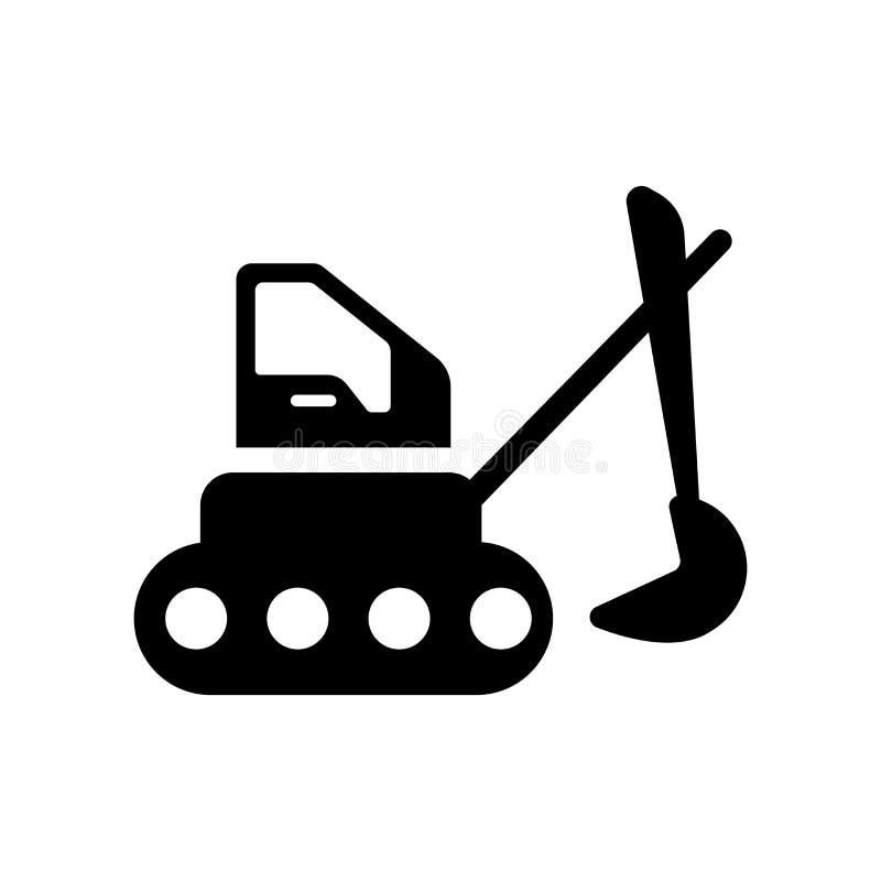 Grävskopasymbol Moderiktigt grävskopalogobegrepp på den vita backgroen vektor illustrationer