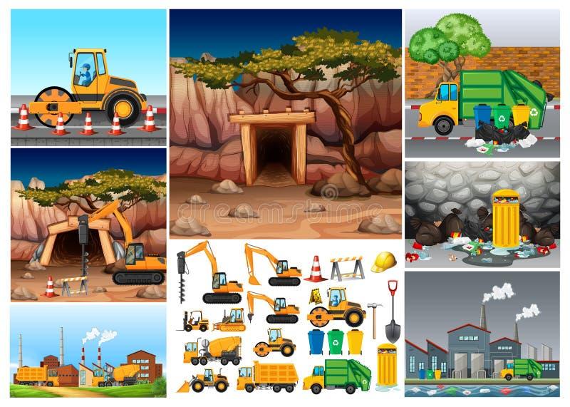Grävskopatraktorer som arbetar i olika platser stock illustrationer