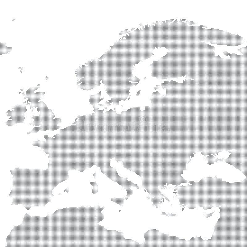 Grå översikt av Europa i pricken också vektor för coreldrawillustration stock illustrationer