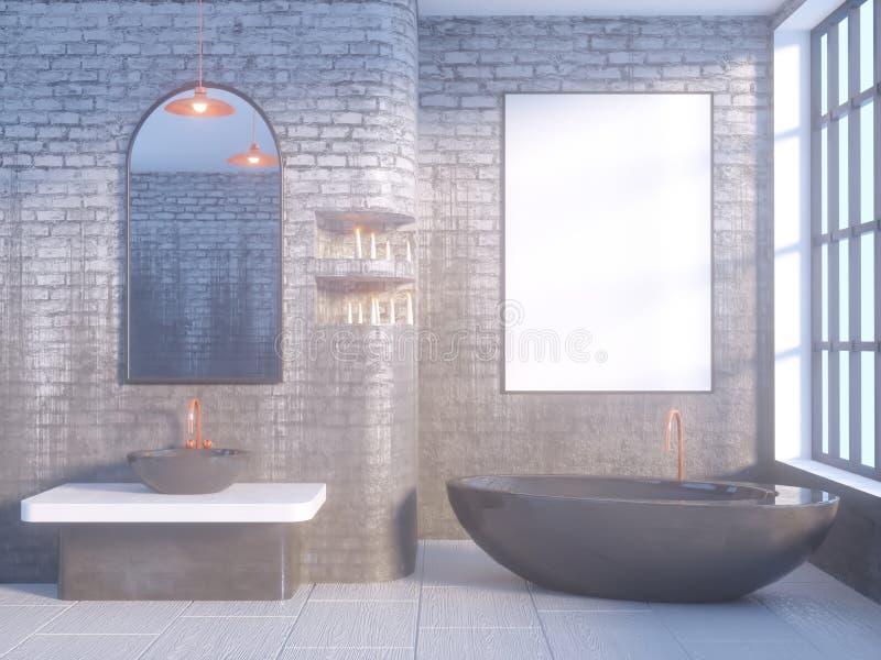 Grå badruminre med ett konkret golv, ett badkar, en illustrationåtlöje för dubbel vask 3d upp royaltyfri illustrationer