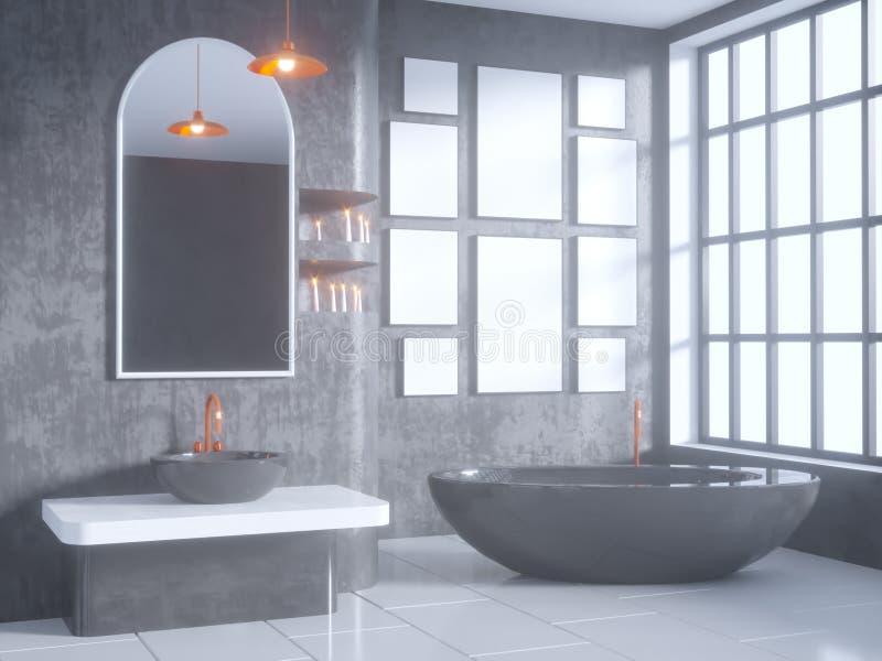 Grå badruminre med ett konkret golv, ett badkar, en illustrationåtlöje för dubbel vask 3d upp stock illustrationer