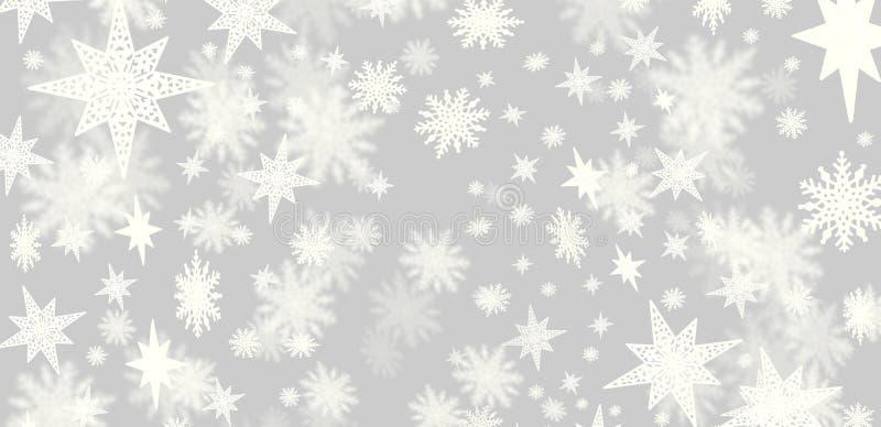 Grå bakgrund för jul med lotter av snöflingor och stjärnor w vektor illustrationer
