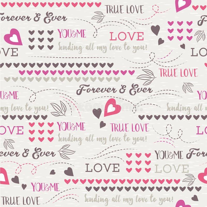 Grå bakgrund med röd valentinhjärta och önskaen smsar, vect royaltyfri illustrationer