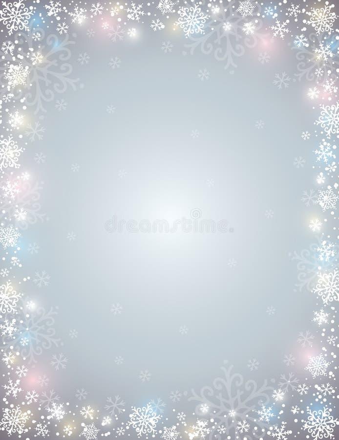 Grå bakgrund med ramen av snöflingor stock illustrationer