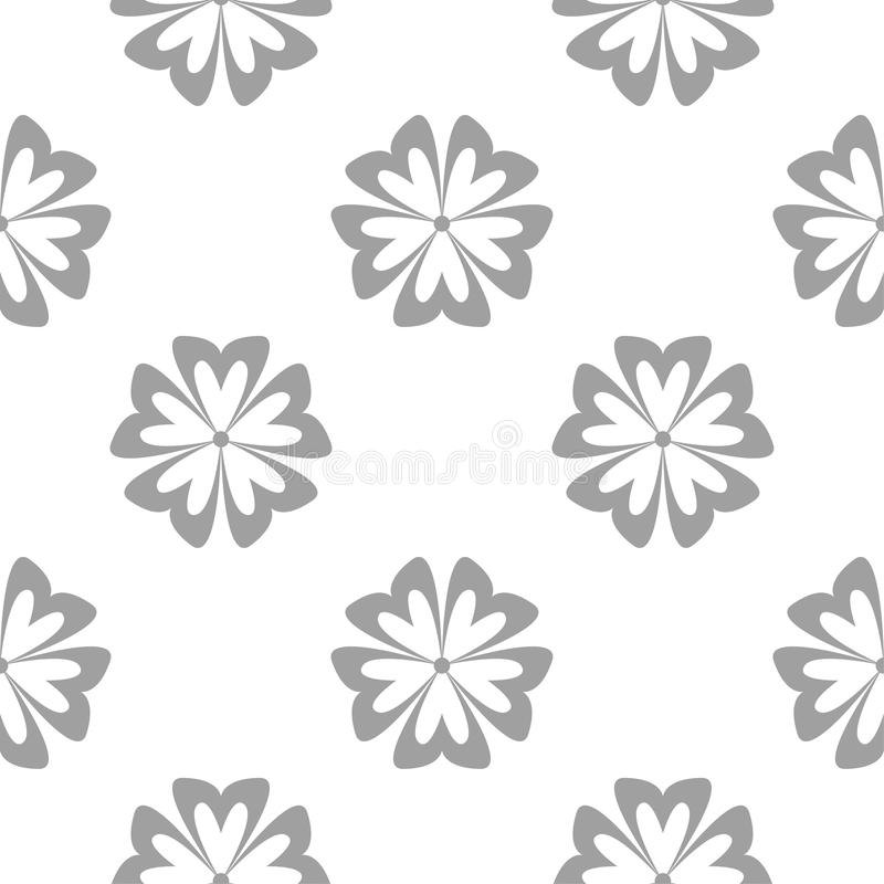 Grå blom- modell på vit Seamless bakgrund stock illustrationer