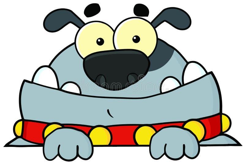 Grå bulldogg som ser över ett tecken vektor illustrationer