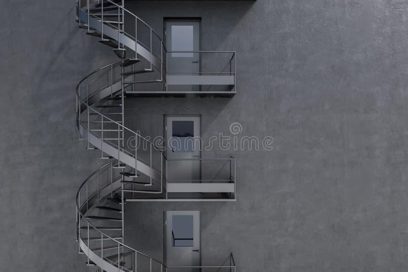 Grå byggnad med spiral trappa för brandflykt vektor illustrationer