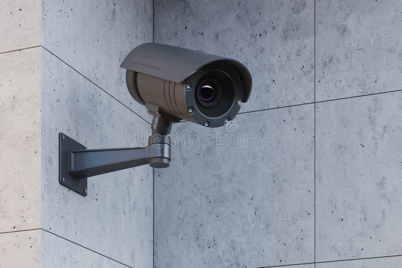 Grå CCTV-kamera på en grå vägg royaltyfri illustrationer