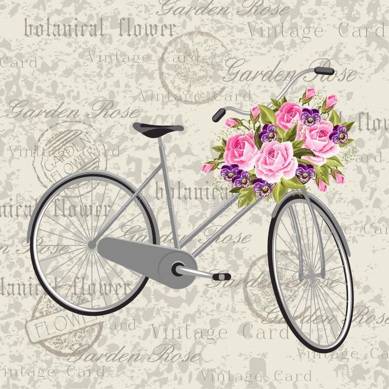 Grå cykel med en korg som är full av blommor stock illustrationer