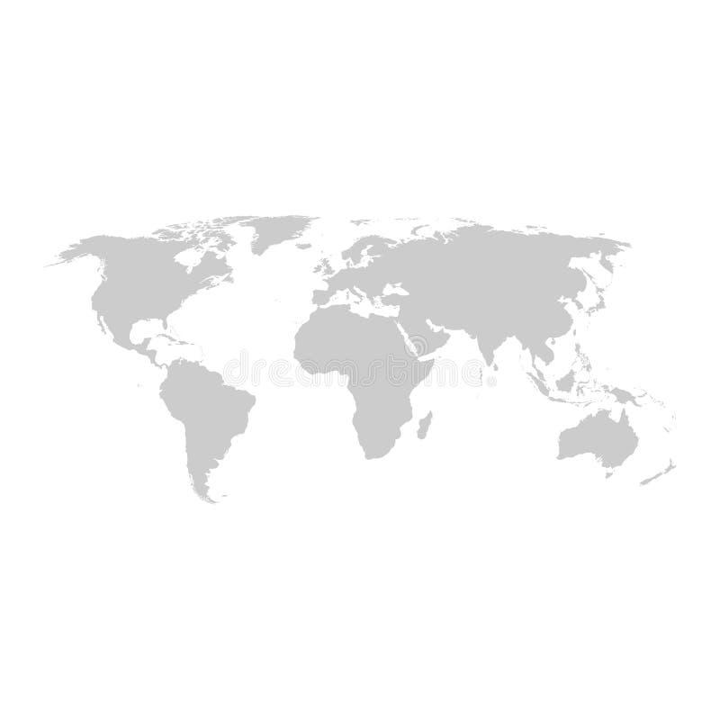 Grå design för världskartavektorlägenhet royaltyfri illustrationer