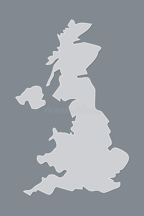 Grå eller vit Förenade kungariket eller UK-översikt utan uppdelningar på svart bakgrund royaltyfri illustrationer