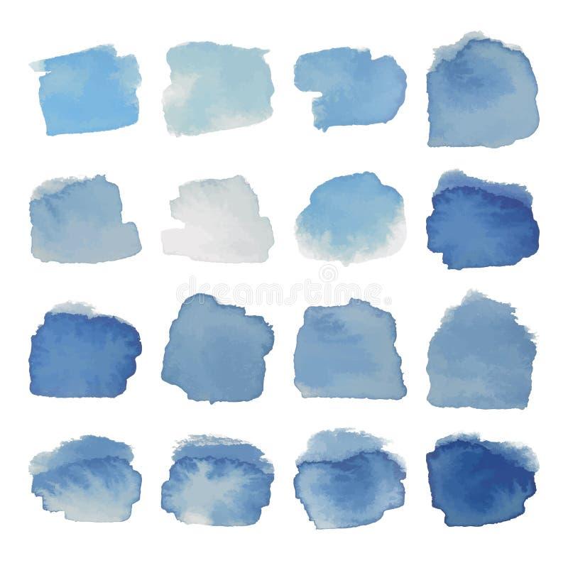 Grå färg-blått bläckar ner vattenfärguppsättningen stock illustrationer