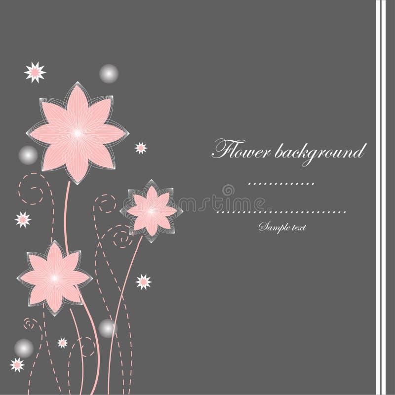 Grå färg- och rosa färgblommabakgrund royaltyfri illustrationer