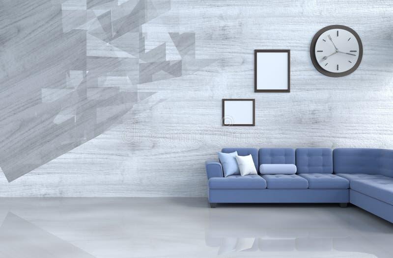 Grå färg-vit vardagsrumdekor med den blåa soffan arkivfoton