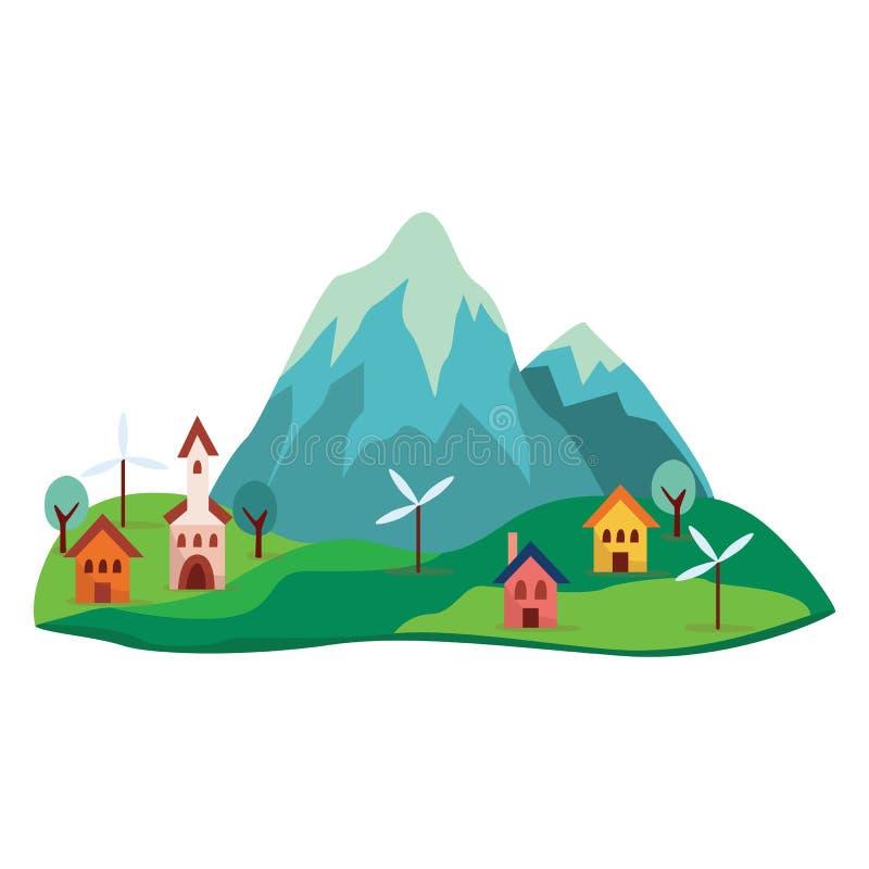 Grå färger, det blåa tecknad filmberget med gröna kullar, gulliga färgrika hus, träd och väderkvarnar på foten av vaggar royaltyfri illustrationer