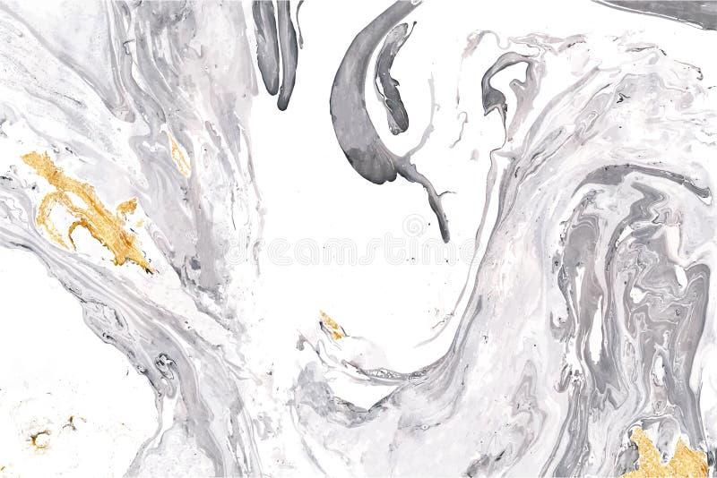 Grå färger, guld och den vita vektorn marmorerar textur Dekorativ akrylbakgrund vektor illustrationer