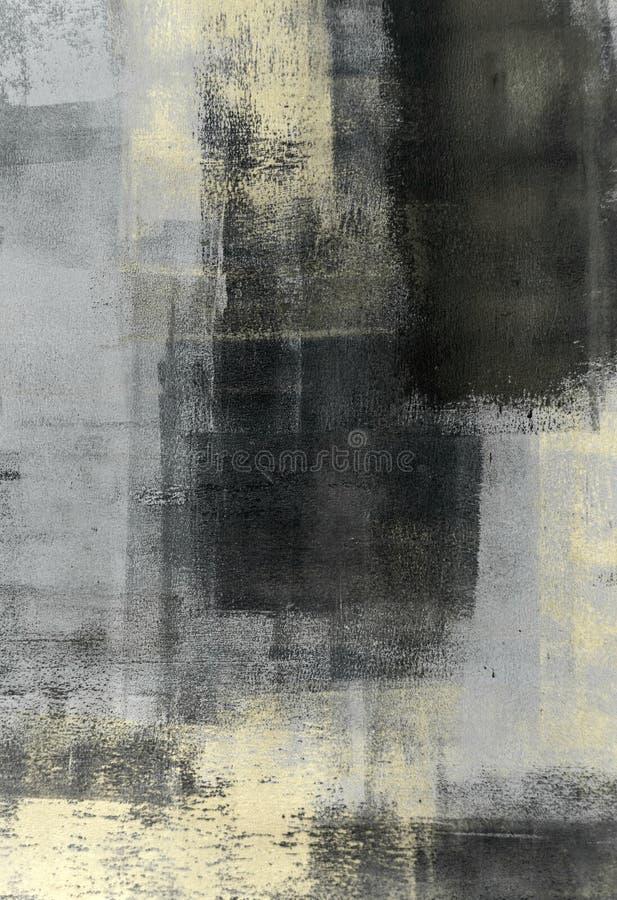 Grå färger och beiga abstrakta Art Painting stock illustrationer