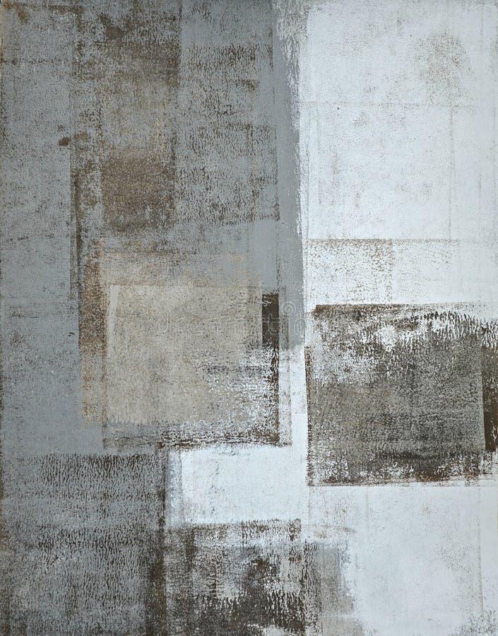 Grå färger och beiga abstrakta Art Painting arkivfoto