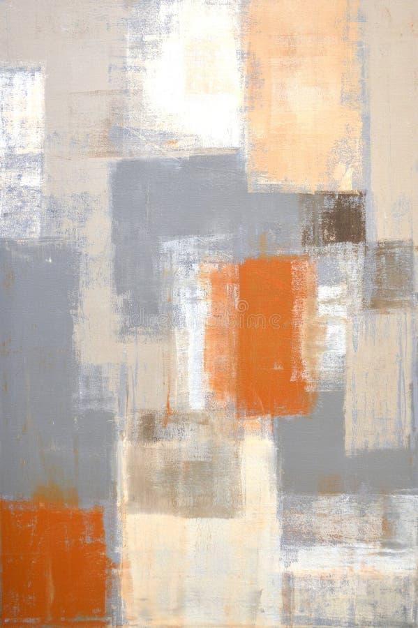 Grå färger och Biege och beiga abstrakta Art Painting royaltyfria foton