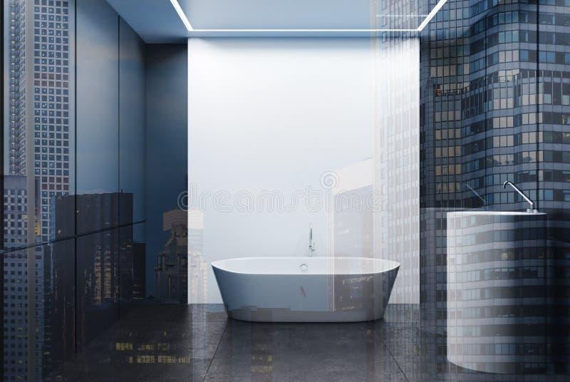 Grå färger och det vit belade med tegel badrummet, badar och sjunker dubbelt stock illustrationer