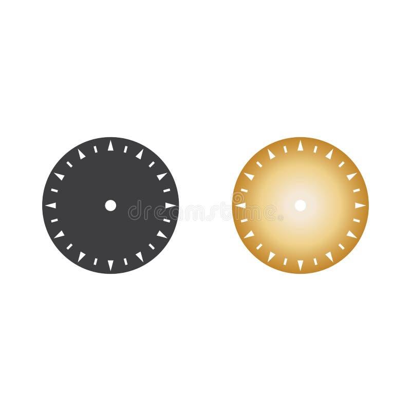 Grå färger och guld- illustration för vektor för klockacirkelsymbol royaltyfri bild
