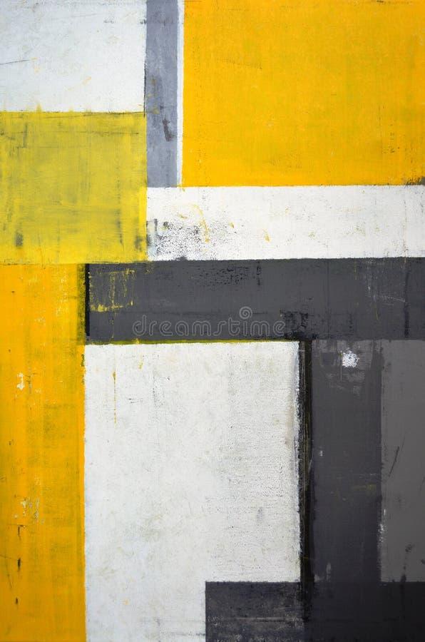 Grå färger och guling abstrakta Art Painting arkivfoto