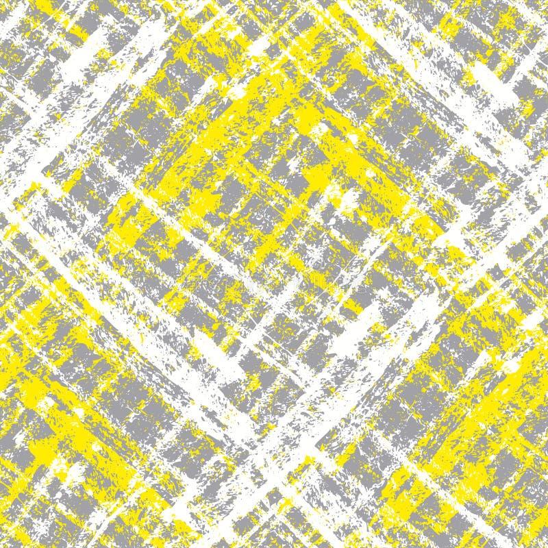 Grå färger och guling ritar sömlös textur vektor illustrationer