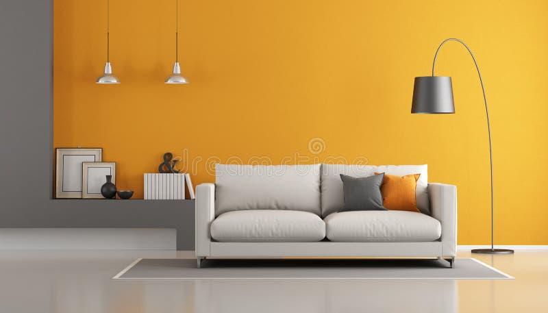 Grå färger och orange modern vardagsrum royaltyfri illustrationer