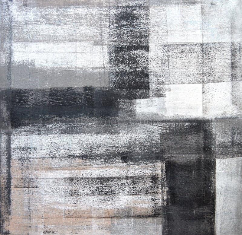 Grå färger och svart abstrakta Art Painting royaltyfri bild
