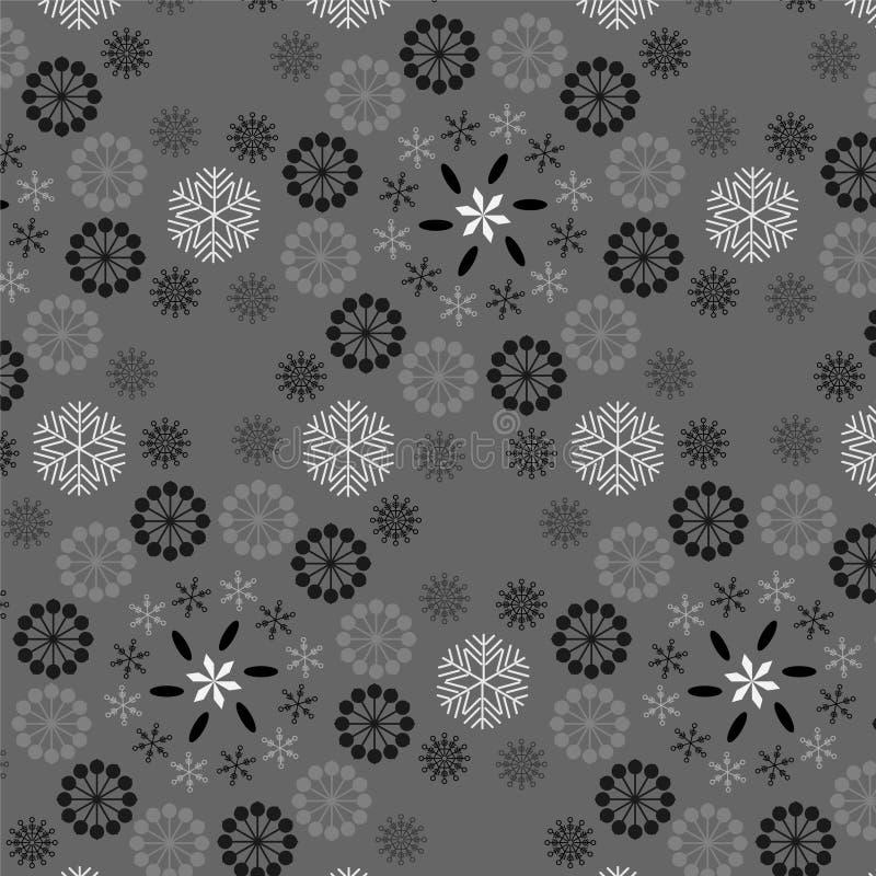 Grå färger, svart och silversnöflingor i sömlös modell vektor illustrationer