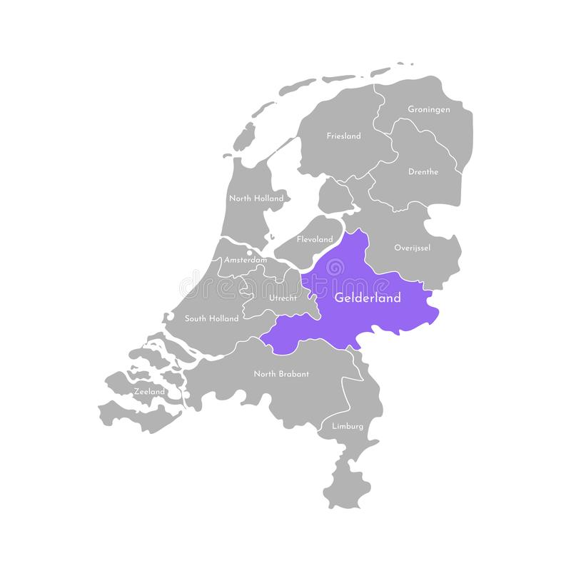 Grå färgkontur av NederländernaHolland landskap Utvald administrativ uppdelning - Gelderland vektor illustrationer