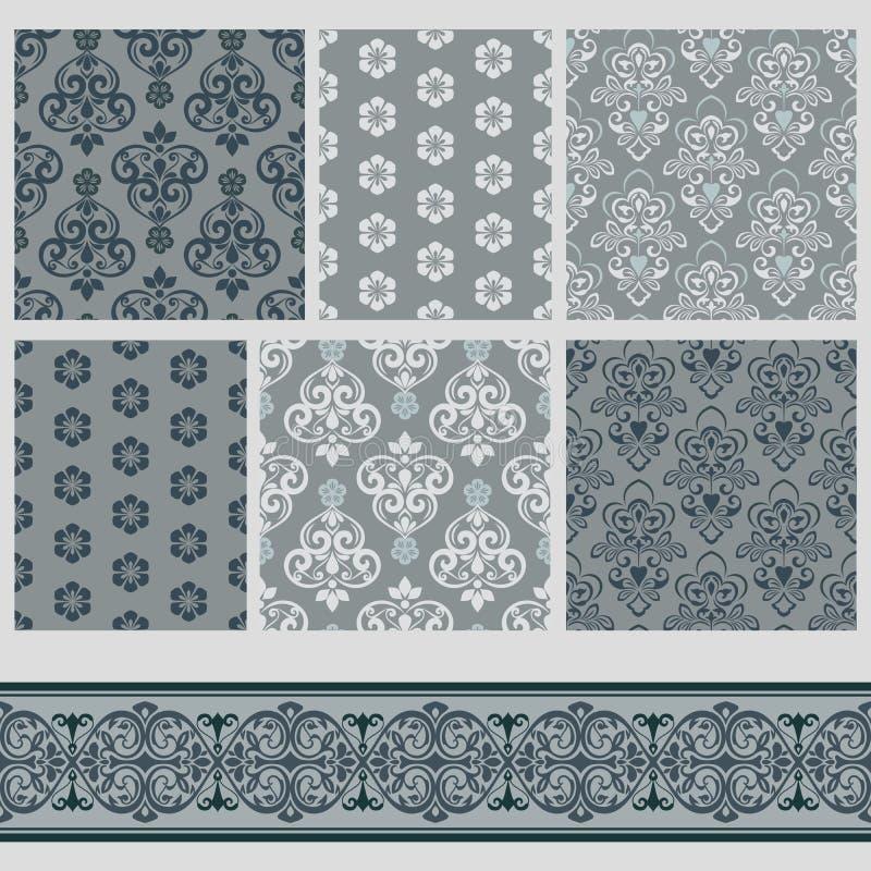 Grå färgmodeller med blom- prydnader vektor illustrationer