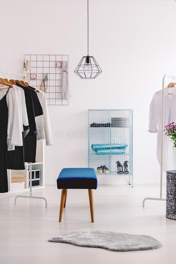 Grå färgpäls i garderob arkivbild